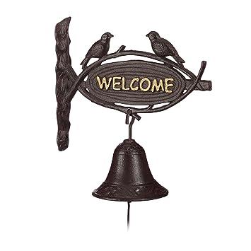 Relaxdays – Campana para Puerta Puerta de Hierro Fundido Welcome, Estilo Antiguo, Letras de