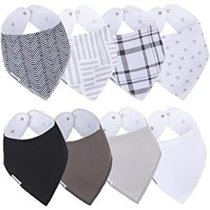 Bazzle Baby Organic Bandana Bibs for Drooling and Teething, Soft and Absorbent Double-Layer Bibs with Cotton and Fleece, Baby Bibs for Boys and Girls, Scoop Neck and Nickel-Free Snaps (8pk Hayden)