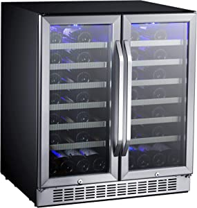 EdgeStar-CWR5631FD-30-Inch-56-Bottle-Built-In-Dual-Zone-French-Door-Wine-Cooler