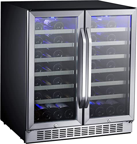 EdgeStar-CWR5631FD-30-Inch-56-Bottle-Built-In-Dual-Zone-French-Door-Wine-Cooler