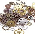 BIHRTC 100 Gram DIY Assorted Color Antique Metal Steampunk Gears Charms Pendant Clock Watch Wheel Gear for Crafting, Jewelry Making Accessory