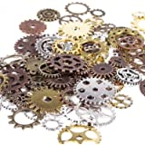 BIHRTC 100 Gram DIY Assorted Color Antique Metal Steampunk Gears Charms Pendant Clock Watch Wheel Gear for Crafting…