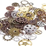 BIHRTC 100 Gram DIY Assorted Color Antique Metal Steampunk Gears Charms Pendant Clock Watch Wheel Gear for Crafting, Jewelry