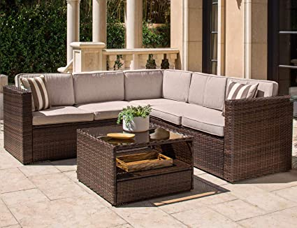 Amazon.com: Solaura Outdoor 4-Piece Sofa Sectional Set All ...