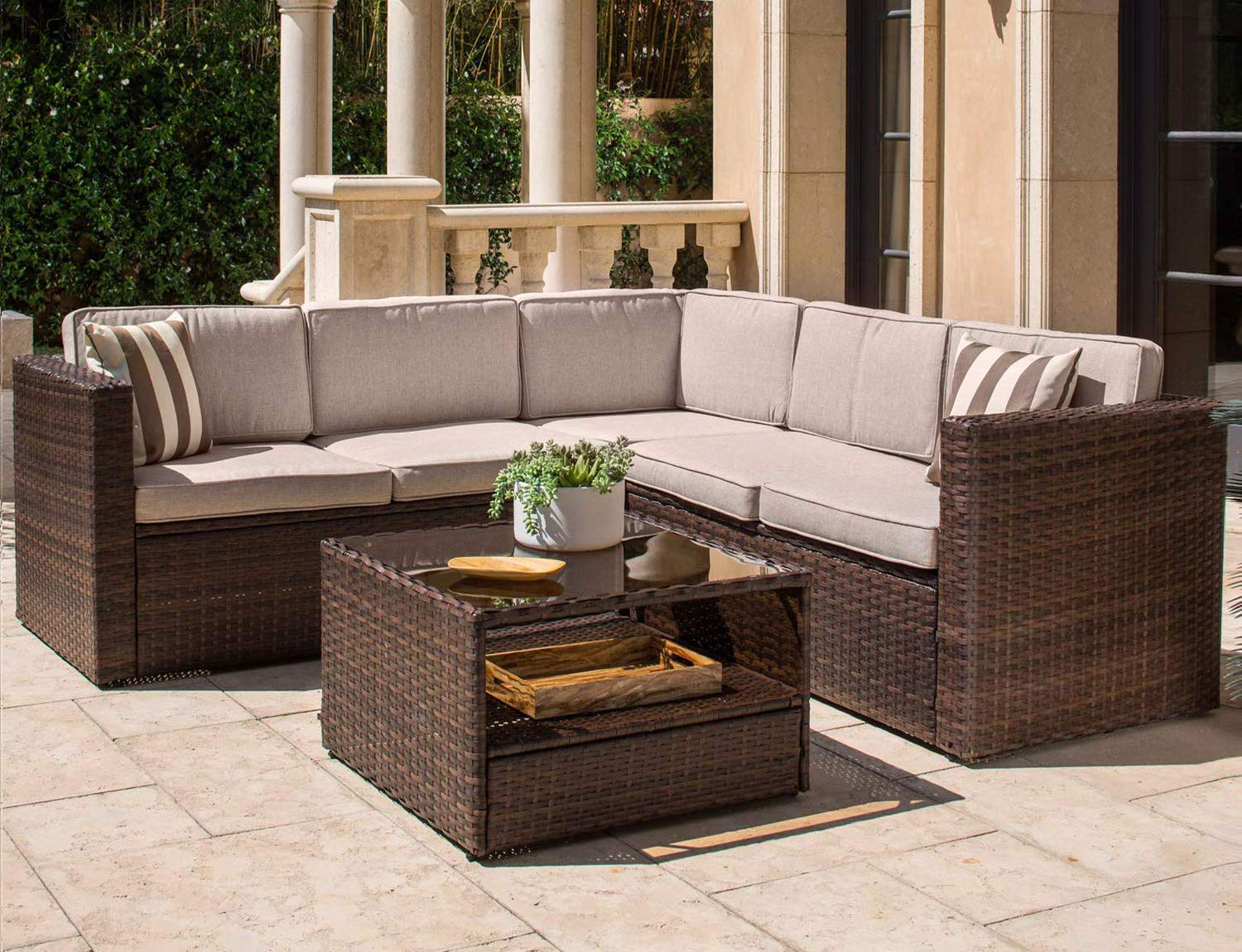 Solaura Outdoor 4-Piece Sofa Sectional Set All Weather Brown Wicker with Beige Cushions & Glass Coffee Table