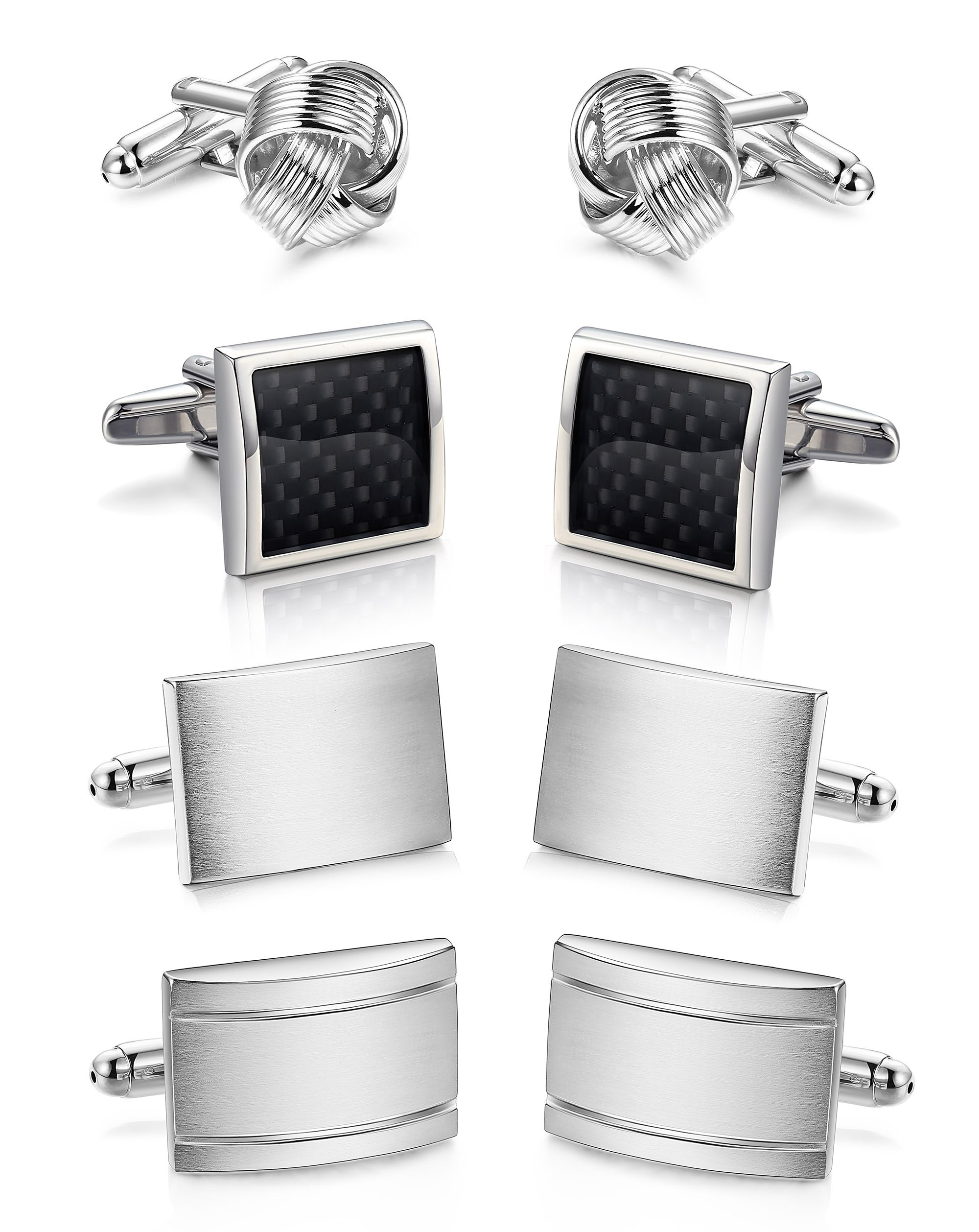 ORAZIO 4 Pairs Cufflinks for Men Cufflink Set for Tuxedo Shirts Business Wedding Silver Tone
