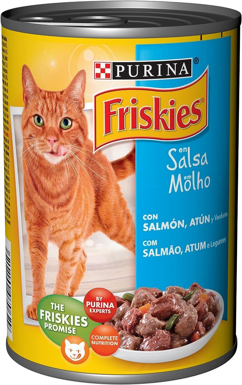 Purina Friskies en Salsa comida para gato Adulto con Salmón y Atún 24 x 400 g: Amazon.es: Productos para mascotas