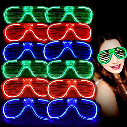 Pack of 10 Glow Stick Glasses Bright Neon  Parties Glow Glasses 10 Pack
