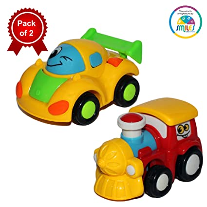 smiles creation cartoon style mini friction car and engine toy for