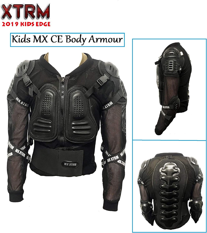 XTRM EDGE MX MOTORBIKE KIDS BODY ARMOUR Motorcycle BMX Quad Off Road ATV Sports CE Approve Full Body Deflector BLACK