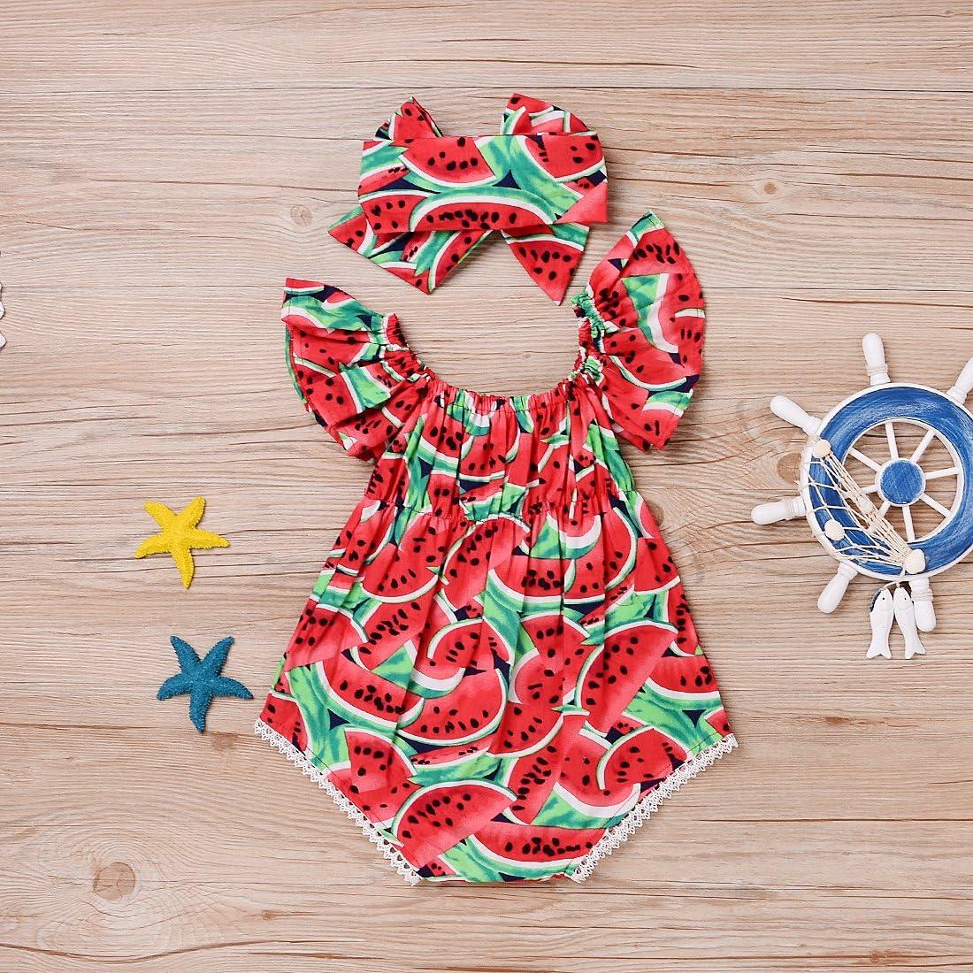 Zekky Baby Girls Watermelons Print Backless Romper Bodysuit with Headband