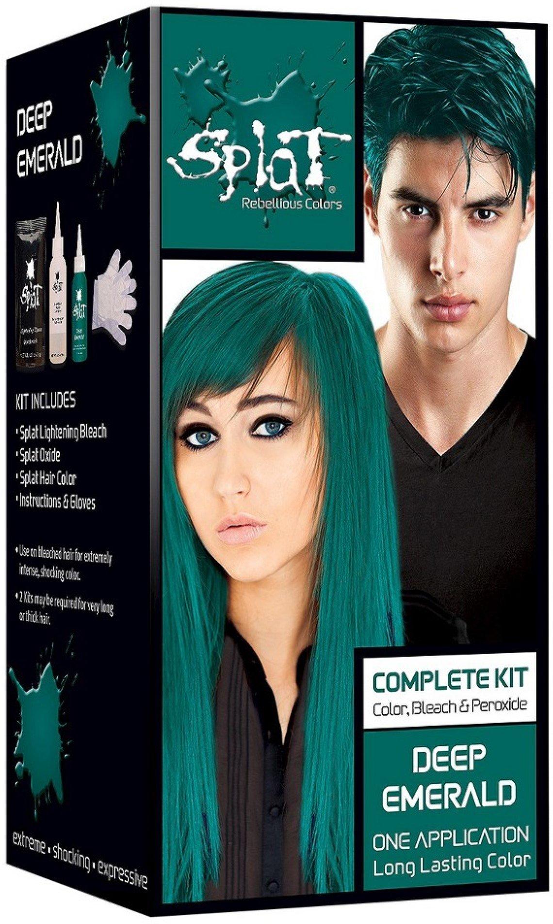 Splat Rebellious Colors Hair Coloring Complete Kit, Deep Emerald 1 ea (Pack of 2) by Splat