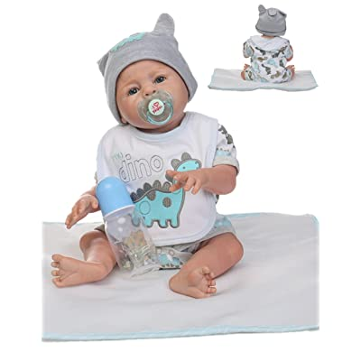 Reborn Baby Doll Boy Silicone Full Body Boy Realistic Anatomically Correct 20inch 50cm Weighted Baby Gray Doll Vinyl : Baby