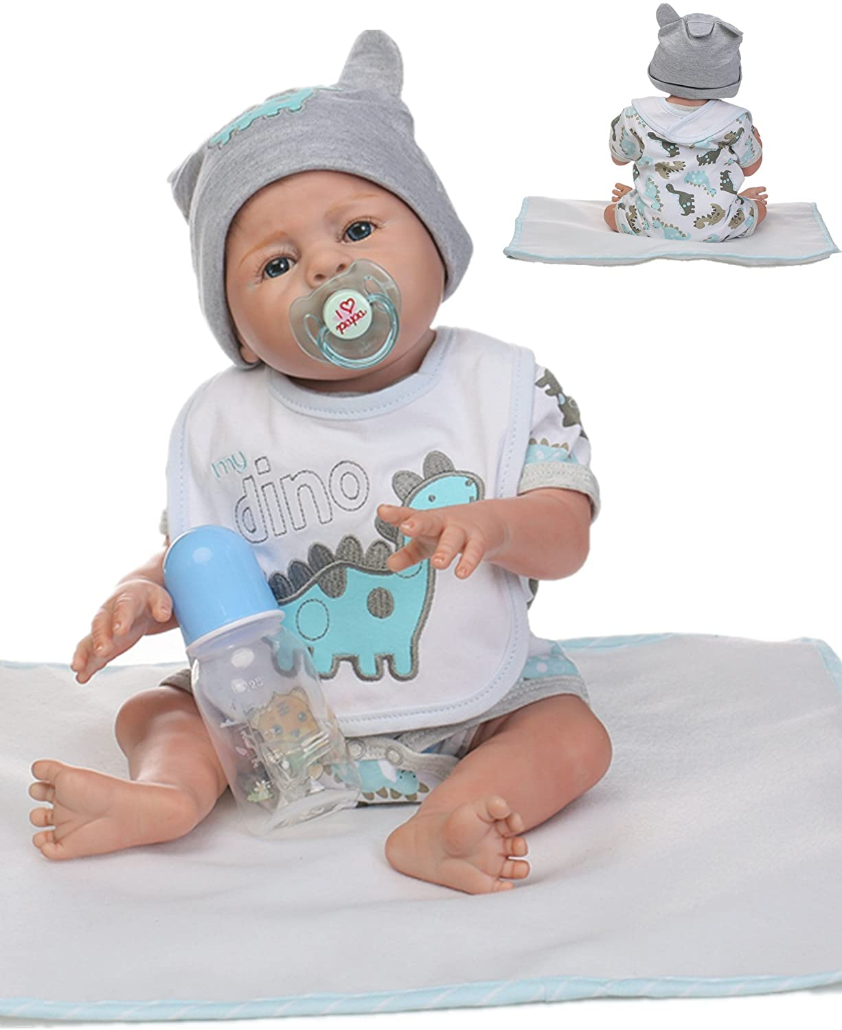Amazon Com Reborn Baby Doll Boy Silicone Full Body Boy Realistic Anatomically Correct 20inch 50cm Weighted Baby Gray Doll Vinyl Toys Games