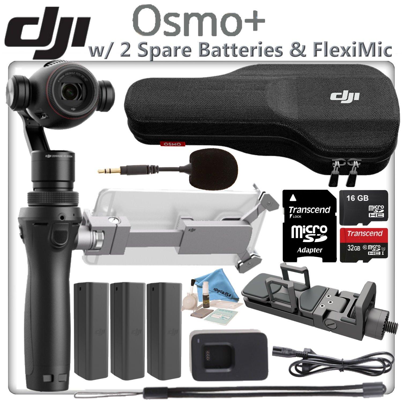 DJI OSMO Plus Starters Bundle - Includes 2 Spare Osmo High Capacity Batteries & 32GB MicroSD Memory Card by eDigital USA