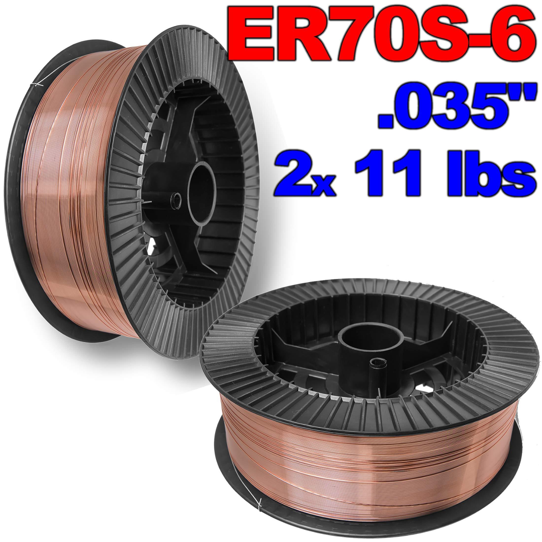 PGN - ER70S-6 .035'' (0.9 mm) Mild Steel MIG Welding Wire - 2x 11 Lbs Spool by PGN Bearings