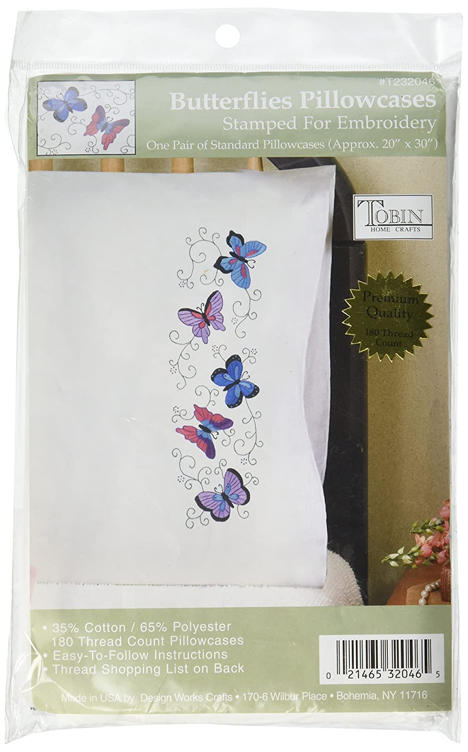 Tobin Stamped Pillowcase Pair Stamped Cross Stitch Kit for Embroidery, 20 by 30-Inch, Butterflies T232046