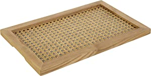 Youth Korea Large Rectangular Ash Wood Rattan Tray (Wood Color) Decorative Hand-Woven Serving Tray Made from Wooden Material for Serving Coffee, Breakfast, Food, Snack Drink, 40 x 25 x 2 cm