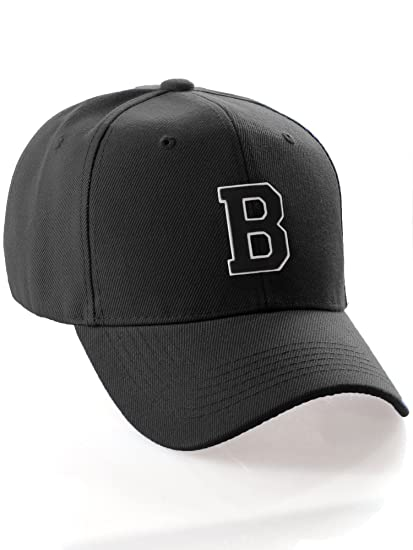 b2906e30f6fc3 Classic Structured Baseball Cap Cutstom Initial Letters A to Z Double Layer  Raised - Black Hat