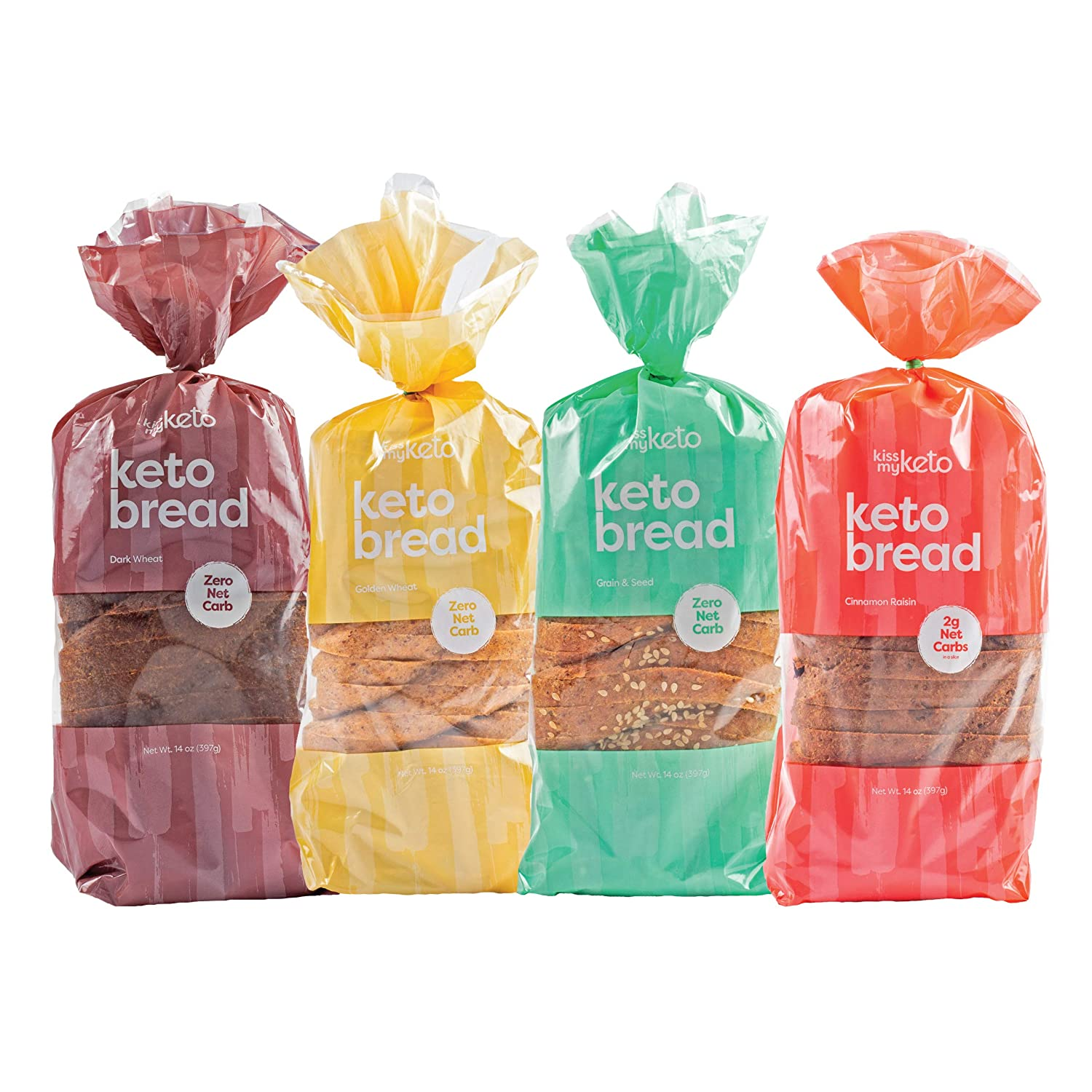 Kiss My Keto Bread — Zero Carb Bread (0g Net), 6g Protein / Slice | Sugar Free, Low Carb Bread | Low Calorie, No GMOs, Soy Free & 100% Carb Free 4-Pack Variety