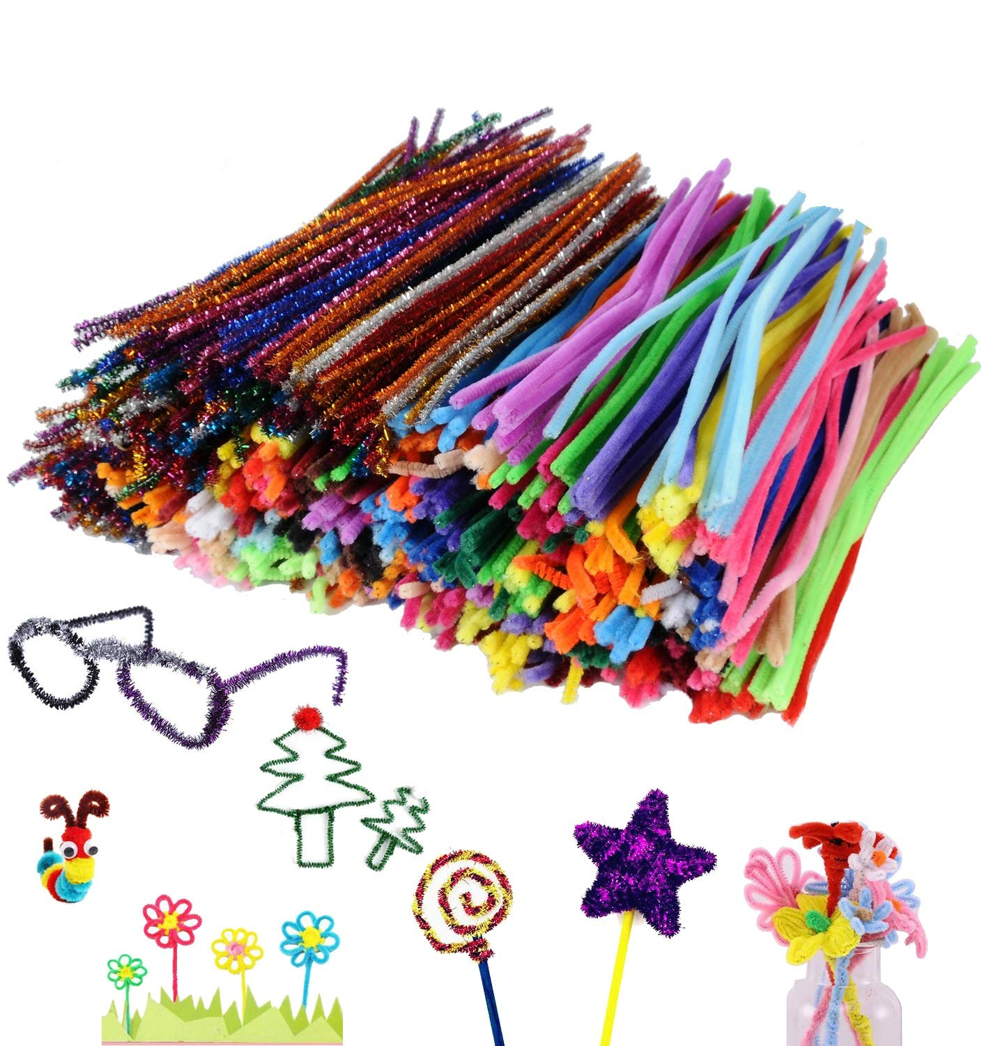 YUEAON 1020 Pieces in 34 Colors Pipe Cleaners Value Pack of Multicolor Chenille Stems for DIY, Art Creative Crafts Decorations (6 mm x 12 inch)