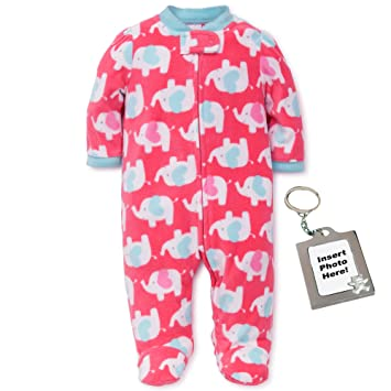 1a3b422b3d Image Unavailable. Image not available for. Color  Little Me Heart Elephant Blanket  Sleeper Girls Winter Footed ...
