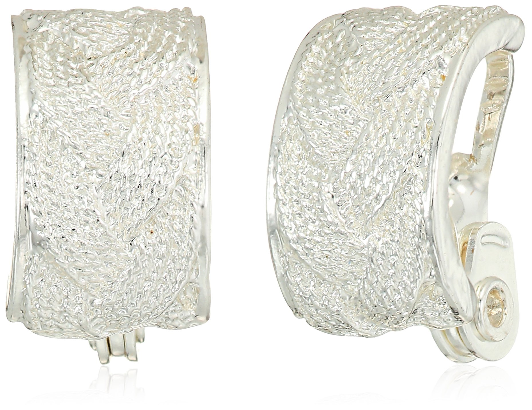 Napier Silver Tone Hoop Clip On Earrings by Napier (Image #1)