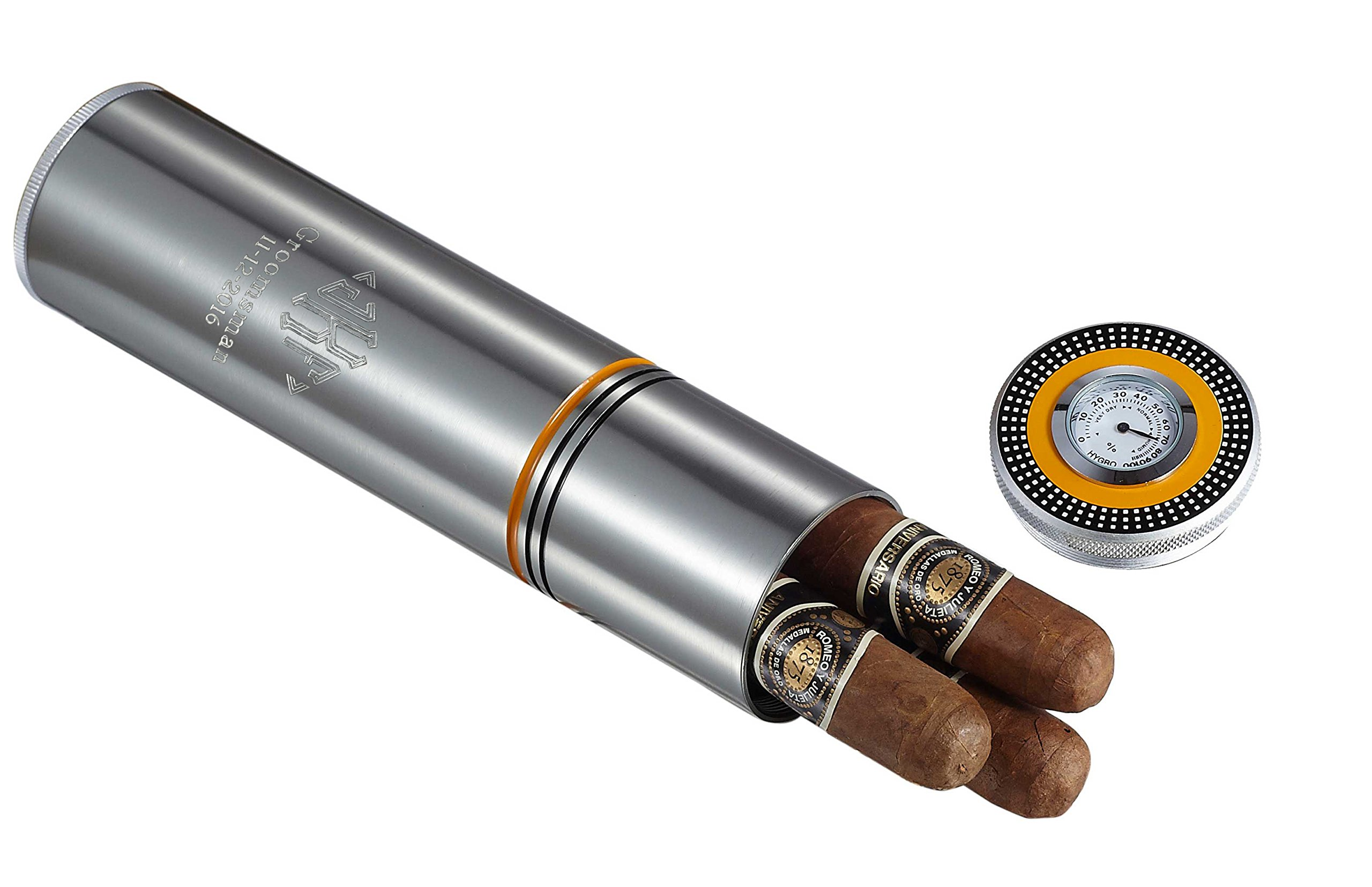 Personalized Stainless Steel Travel Humidor with Free Engraving