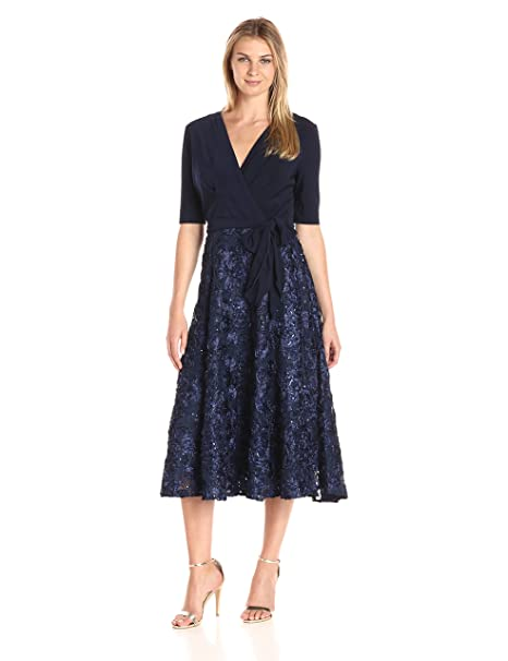 83273c9cacbb Alex Evenings Womens T-Length Dress with Rosette Skirt and Tie Belt ...