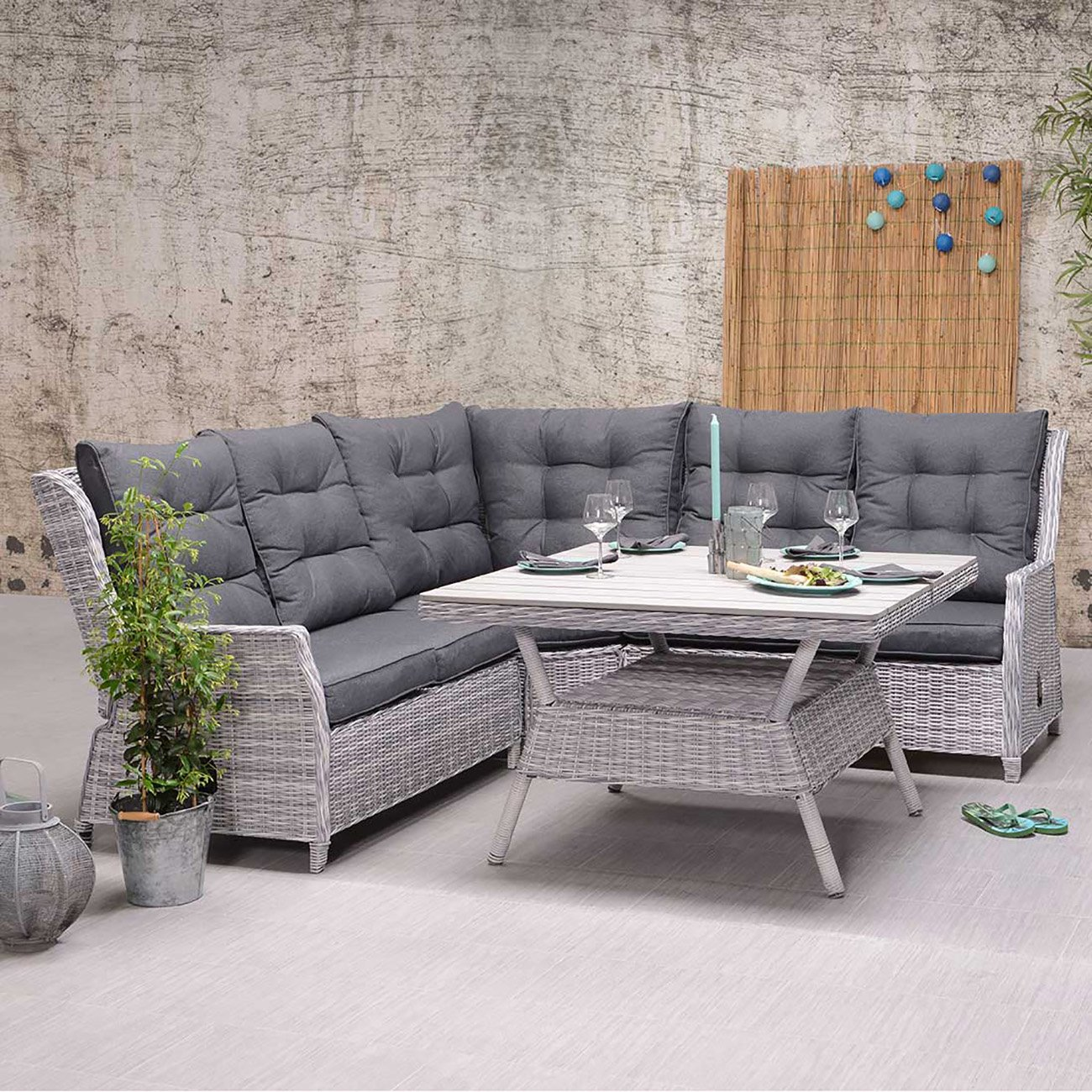 OUTLIV. Dunham Dininglounge 4tlg Geflecht Cloudy Grey Lounge Set
