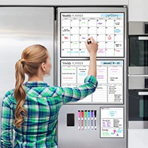 "Magnetic Dry Erase Calendar Bundle for Fridge: 3 Boards Included - Monthly, Weekly, Daily Calendar Whiteboard 17x12"" - 6 Fine Tip Markers and Large Eraser with Magnets, Refrigerator White Board Wall"