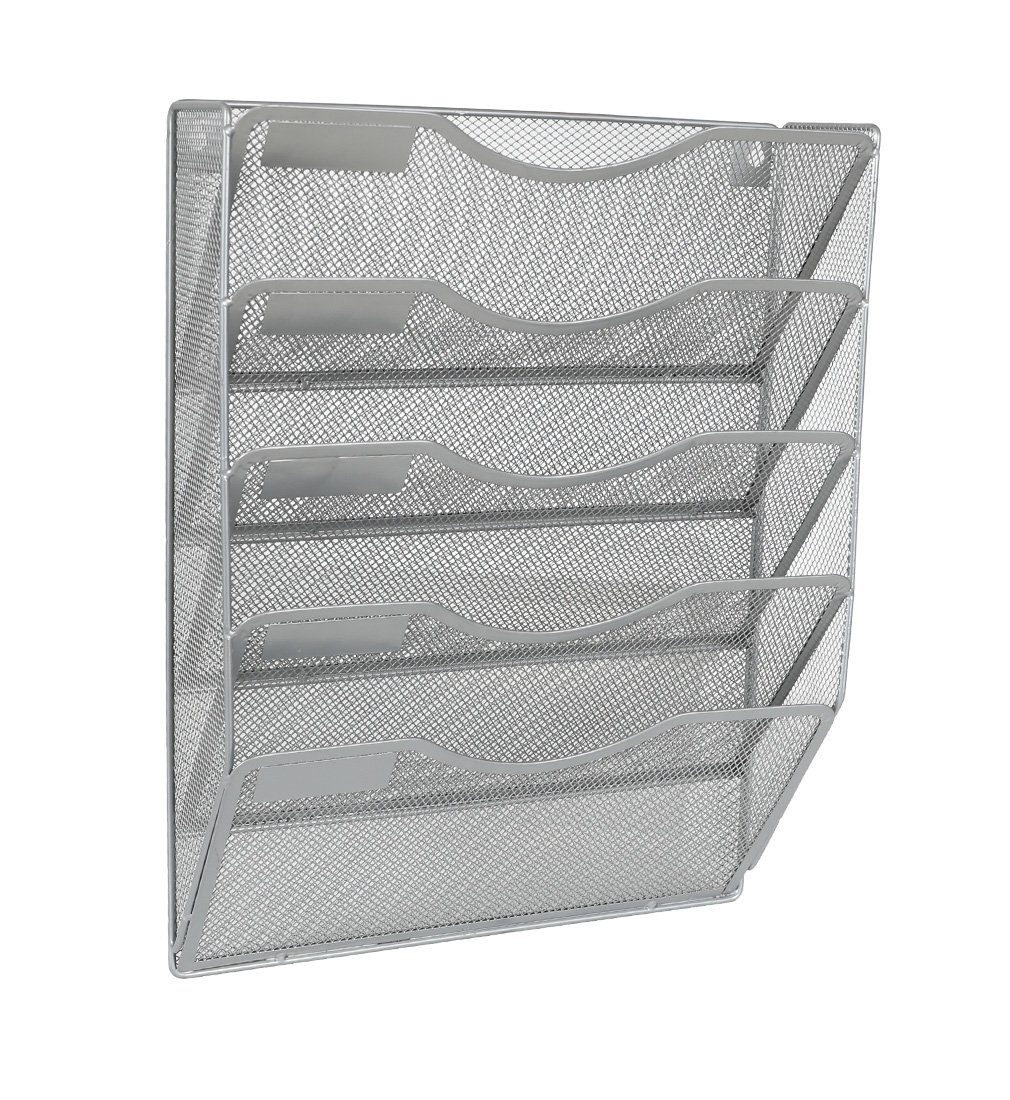 EasyPAG 5 Pockets Wall File Holder Organizer Hanging Magazine Rack,Silver