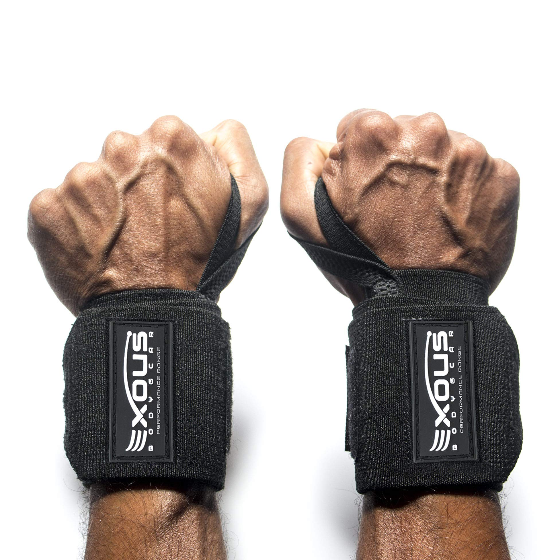 Wrist Wraps Weightlifting Supports - Professional Super Stiff Heavy Duty with Thumb Loop - for Powerlifting - Strength Training Crossfit - Gym Lifting Men & Women Black (12'' REG Duty Flexible)