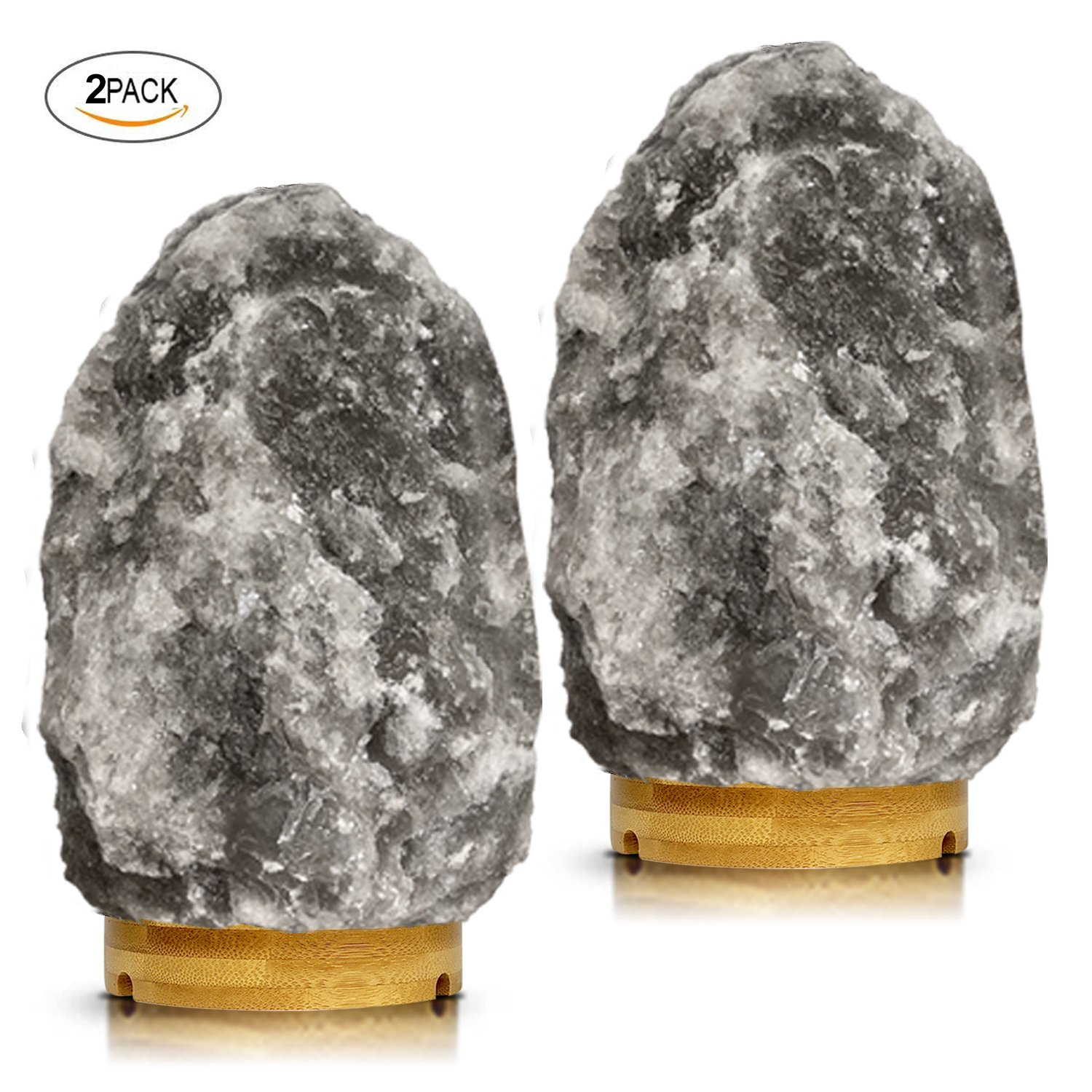 Set of 2 Pack Large Heavy Duty (8-11 lbs,7.5-10'') Grey Gray White Himalayan Salt Lamp Night Light Lights Gray Crystal Hymalain Rock Table Lamps, Rubberwood Base,Dimmable Switch Control 4 Bulbs Include