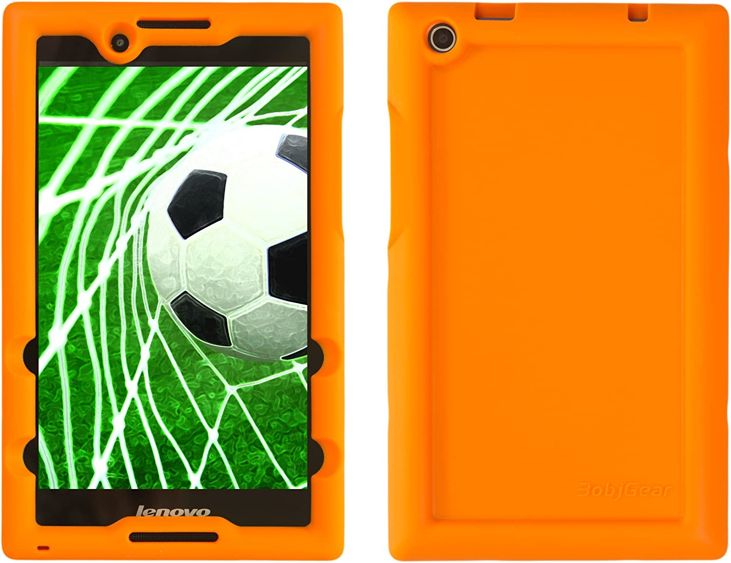 Bobj Rugged Case for Lenovo Tab 2 A8-50, A8-50F, Tab 3 TB3-850F, TB3-850M, ZA170001US, ZA170003US – BobjGear Custom Fit - Patented Venting - Sound Amplification - Kid Friendly (Outrageous Orange)