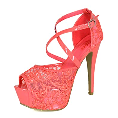 603e6115c WeHeartShoes Ladies Stiletto Platform Heels Strappy Open Toe Sandals Lace  Embellished Shoes UK 3