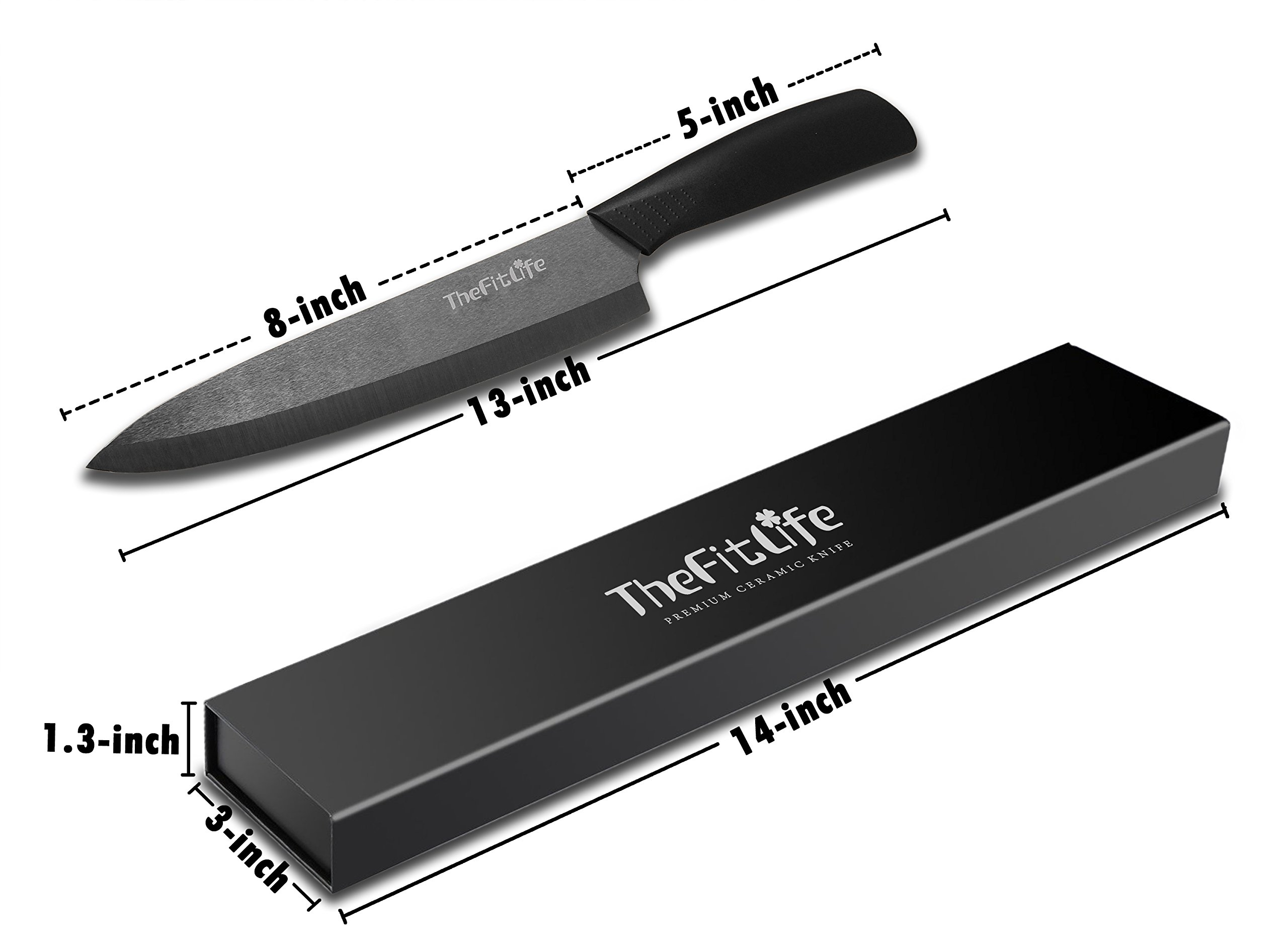 TheFitLife Professional 8 Inches Ceramic Knife - Best Chef Knife for ...