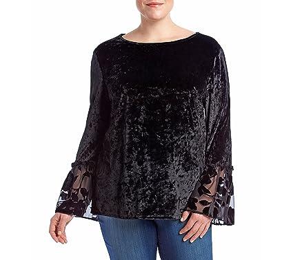 c6734ee7ecc ADIVA Plus Size Crushed Velvet Sheer Floral Bell Sleeve Top at ...