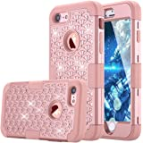 iPhone 7 Case, LONTECT Hybrid Heavy Duty Shockproof Diamond Studded Bling Rhinestone Case Dual Layer [Hard PC+ Soft Silicone] Impact Protection for Apple iPhone 7 - Rose Gold