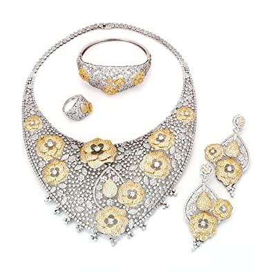 b8136a92b1 Image Unavailable. Image not available for. Color: Yulaili Bridal Jewelry  Set ...