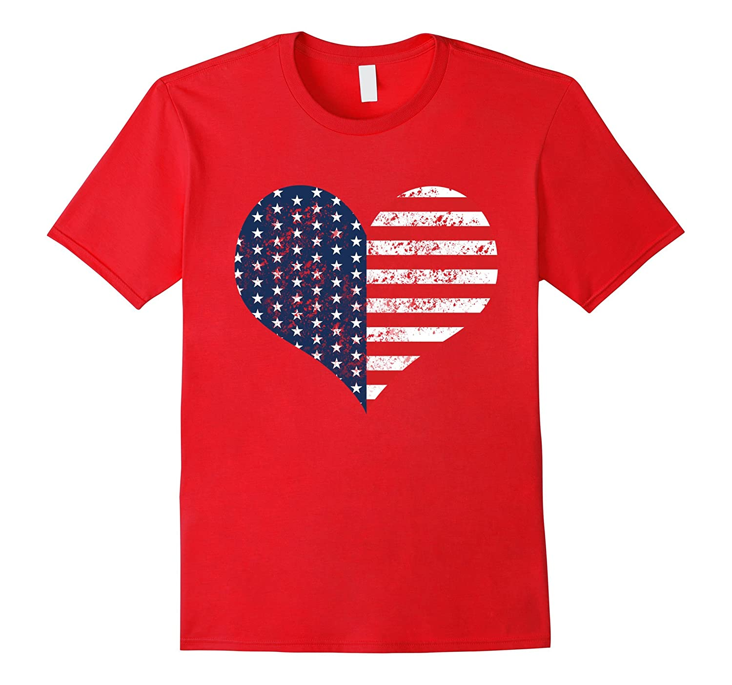 4th of July American Heart Distressed T-Shirt-TH