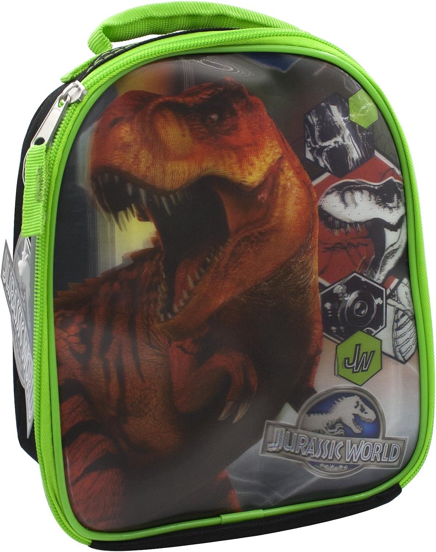 Jurassic World - Bolsa de almuerzo con aislante 3D, con cremallera, sin BPA ni PVC, color negro y verde neón: Amazon.es: Hogar