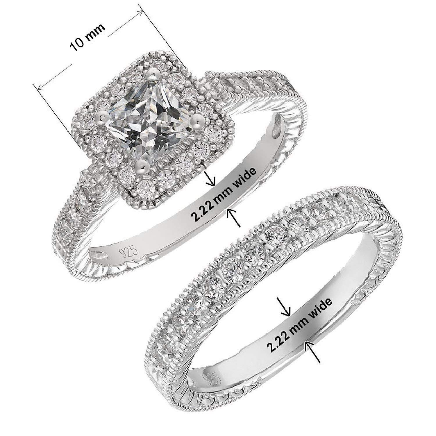 Panghoo Solid 925 Sterling Silver Cz Engagement Wedding Ring Set for Women
