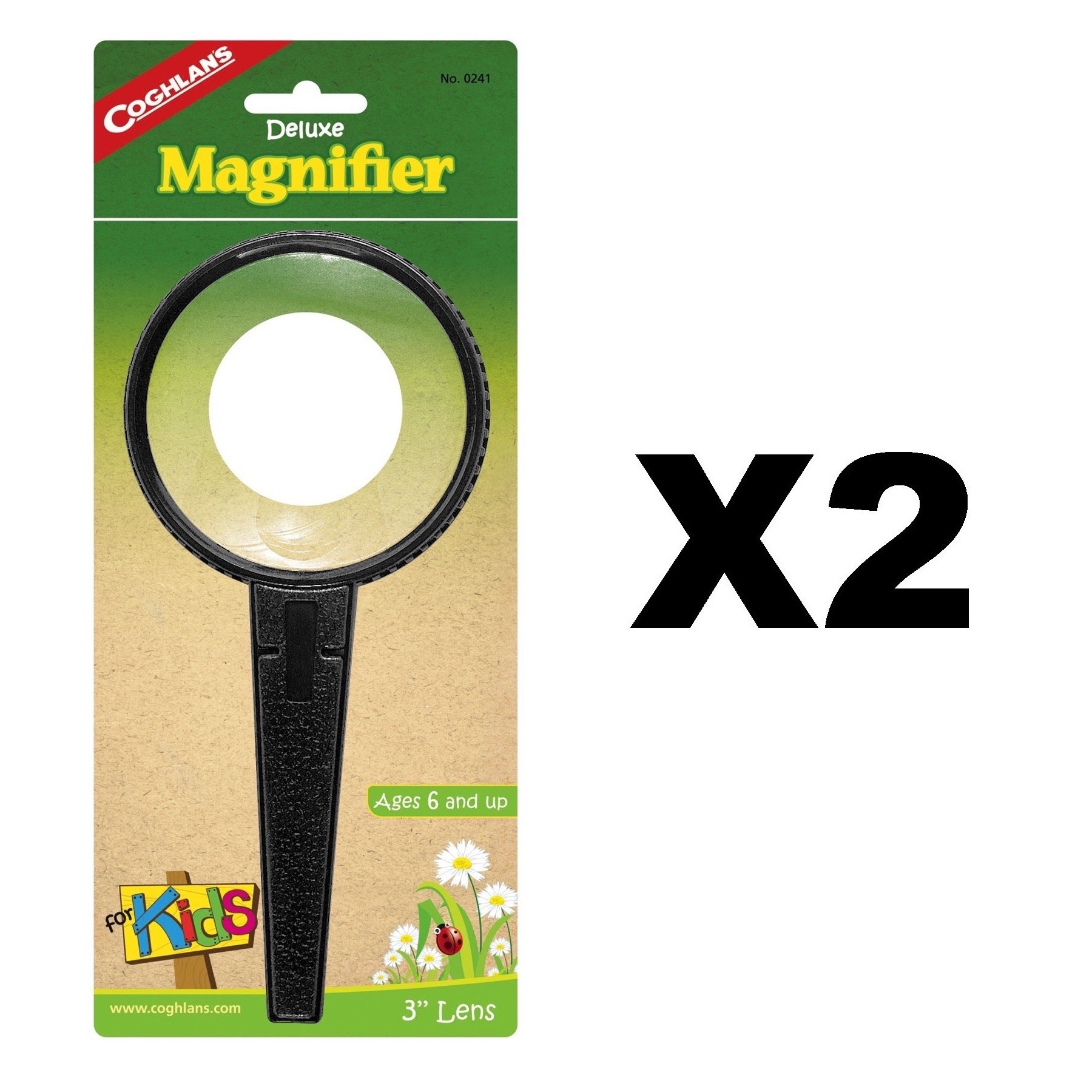 Coghlan's Deluxe Magnifier For Kids Plastic 2x Magnifying w/ 4x Lens (2-Pack)