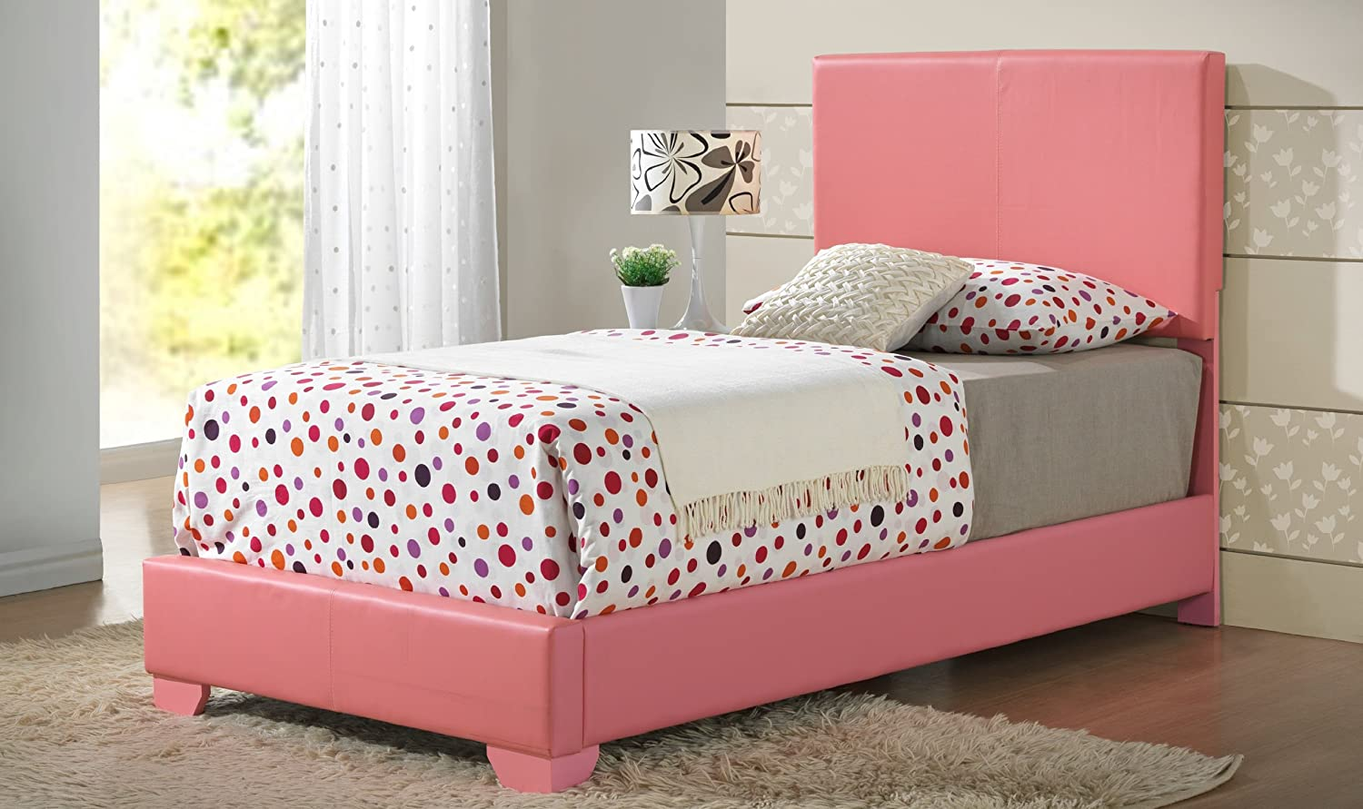 Amazon com glory furniture pink full size modern headboard leather look upholstered bed 1880 kitchen dining