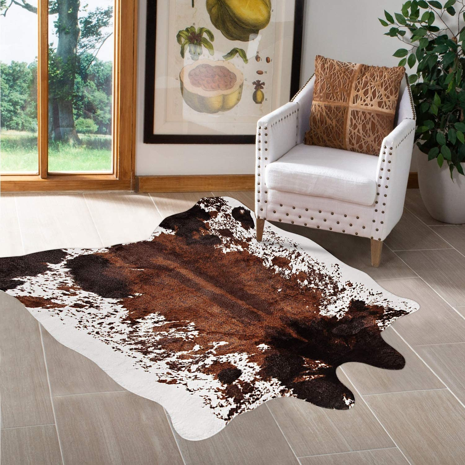 Purp Pie Large Faux Cowhide Rug (4.6ft x 6.6ft) Tricolor Cow Print Area Rugs for Living Room Bedroom, Cruelty-Free Animal Skin Hide Carpet for Home Office Western Cowboy Boho Decor(Brown)
