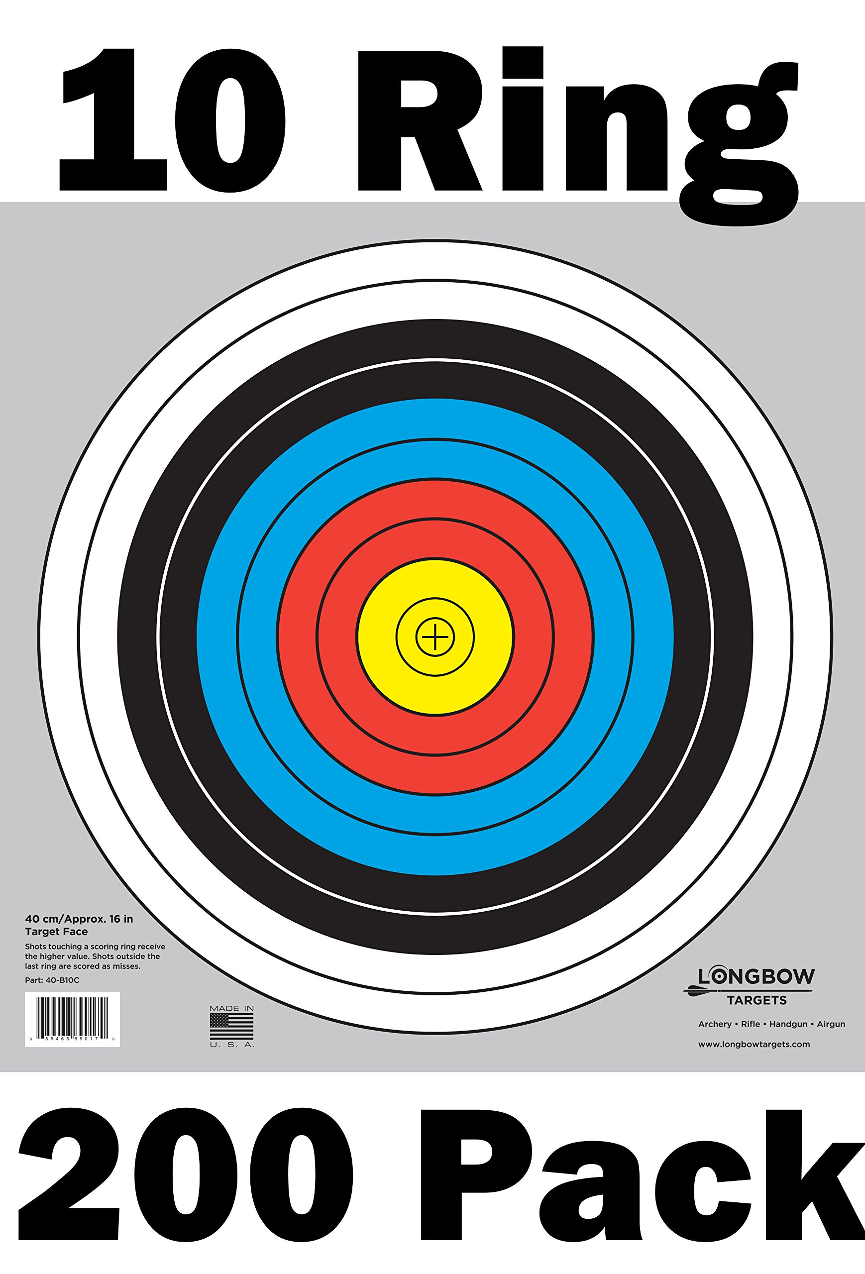 Archery 40cm & 80cm Targets by Longbow (200 pack, 40cm/approx 17'' (10 Ring))