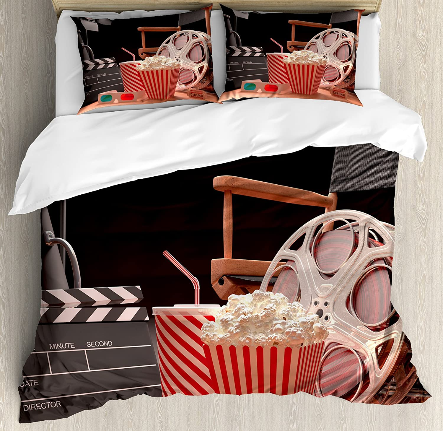 Ambesonne Movie Theater Duvet Cover Set, Objects of The Film Industry Hollywood Motion Picture Cinematography Concept, Decorative 3 Piece Bedding Set with 2 Pillow Shams, Queen Size, Red Black