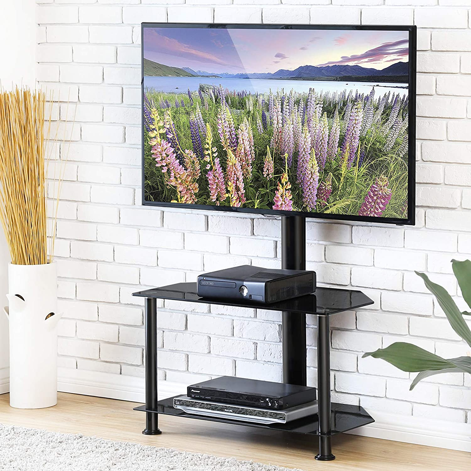 Amazon Com Fitueyes Floor Tv Stand With Swivel Mount And Height
