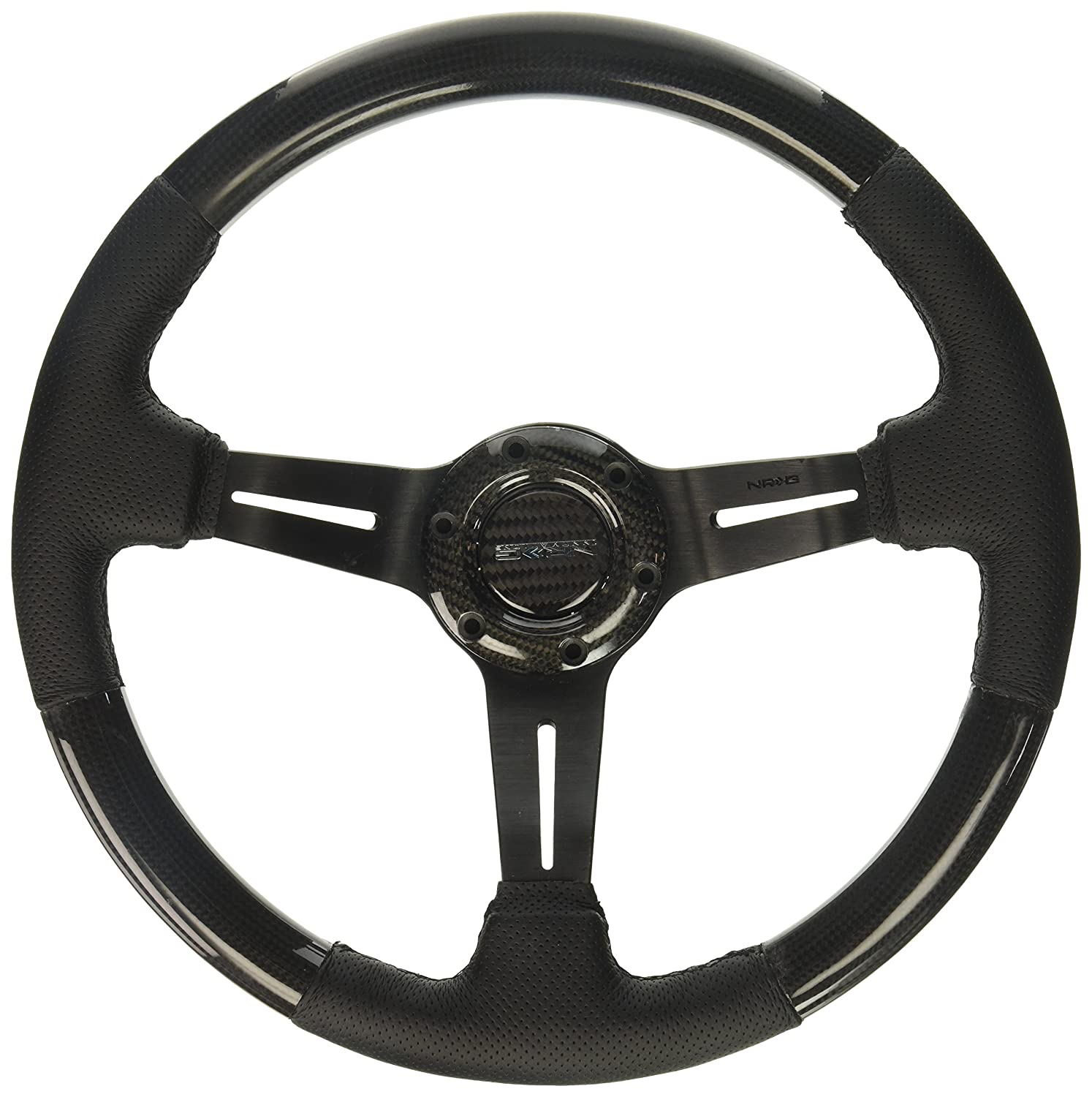 NRG Innovations ST-010CFBS Carbon Fiber Steering Wheel with Leather Accent 350mm 1.5 Deep Black Stitching